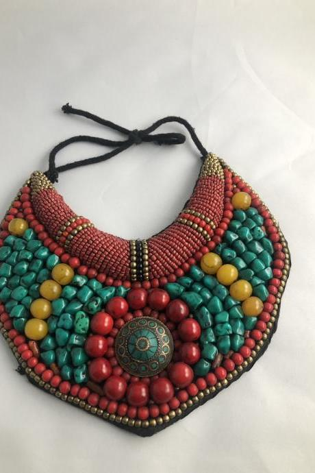Beaded Necklace/ Statement Necklace / Bib Necklace / Handmade Beaded Necklace /