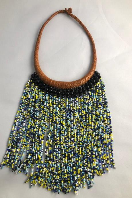 Beaded Necklace/ Statement Necklace / Leather Necklace