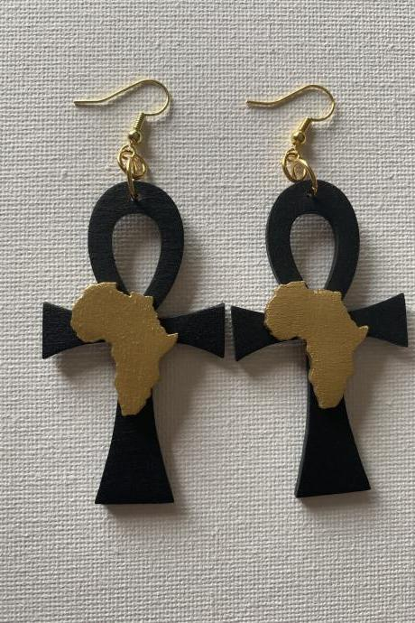 Still I Rise / Africa /Afrocentric Earrings / Dangle Earrings / Afrocentric / Statement Earrings / Ankh Earrings/ Wooden Earrings